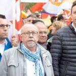 CDU-Landtagsfraktion demonstriert mit Stahlarbeitern